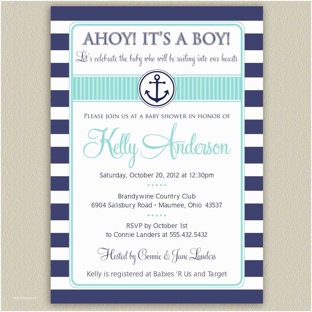 Sailor Baby Shower Invitations Ahoy It S A Boy Nautical Striped Baby Shower Invitation