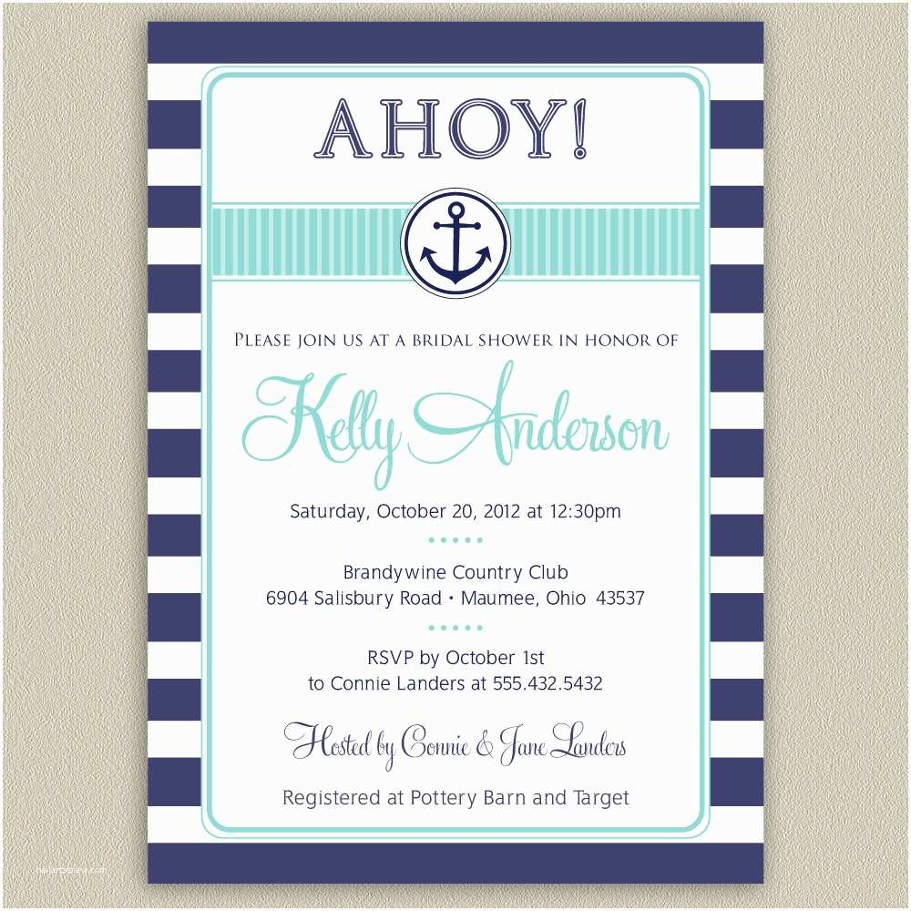 Sailor Baby Shower Invitations Nautical Anchor Printable Bridal Shower Invitation with Color