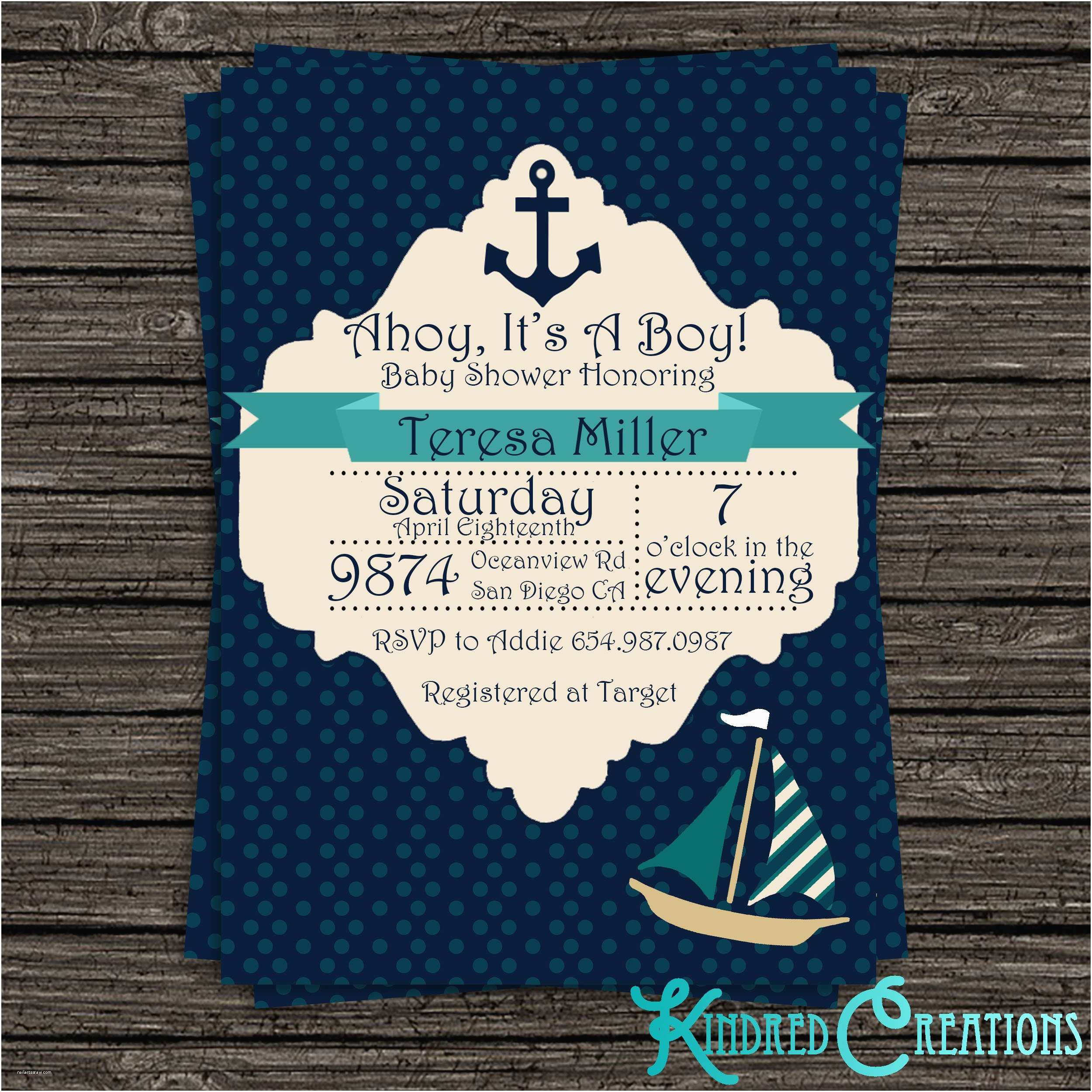 Sailor Baby Shower Invitations Nautical Baby Boy Shower Invitation – Kindred Creations