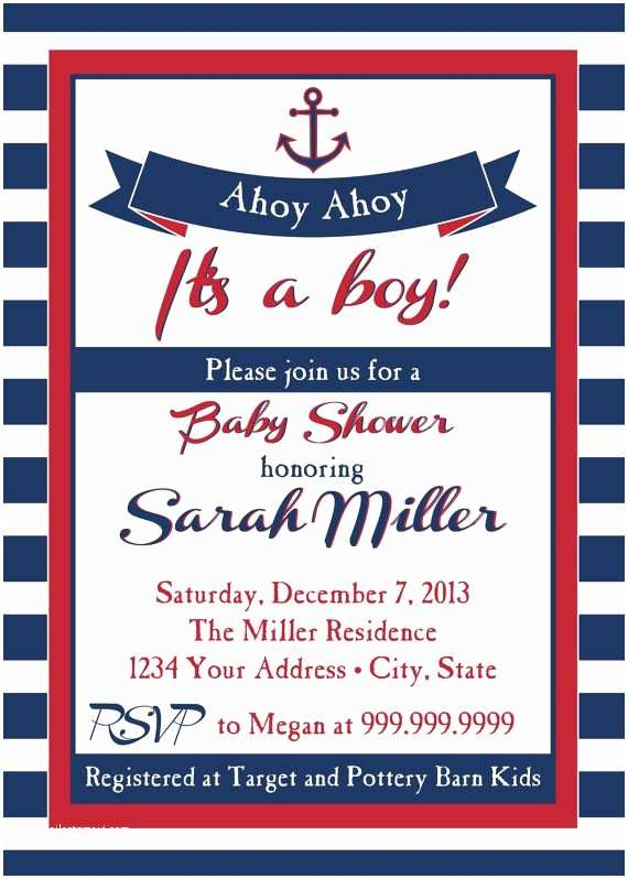 Sailor Baby Shower Invitations Nautical Baby Shower Invitation Ahoy Ahoy by Sldesignteam