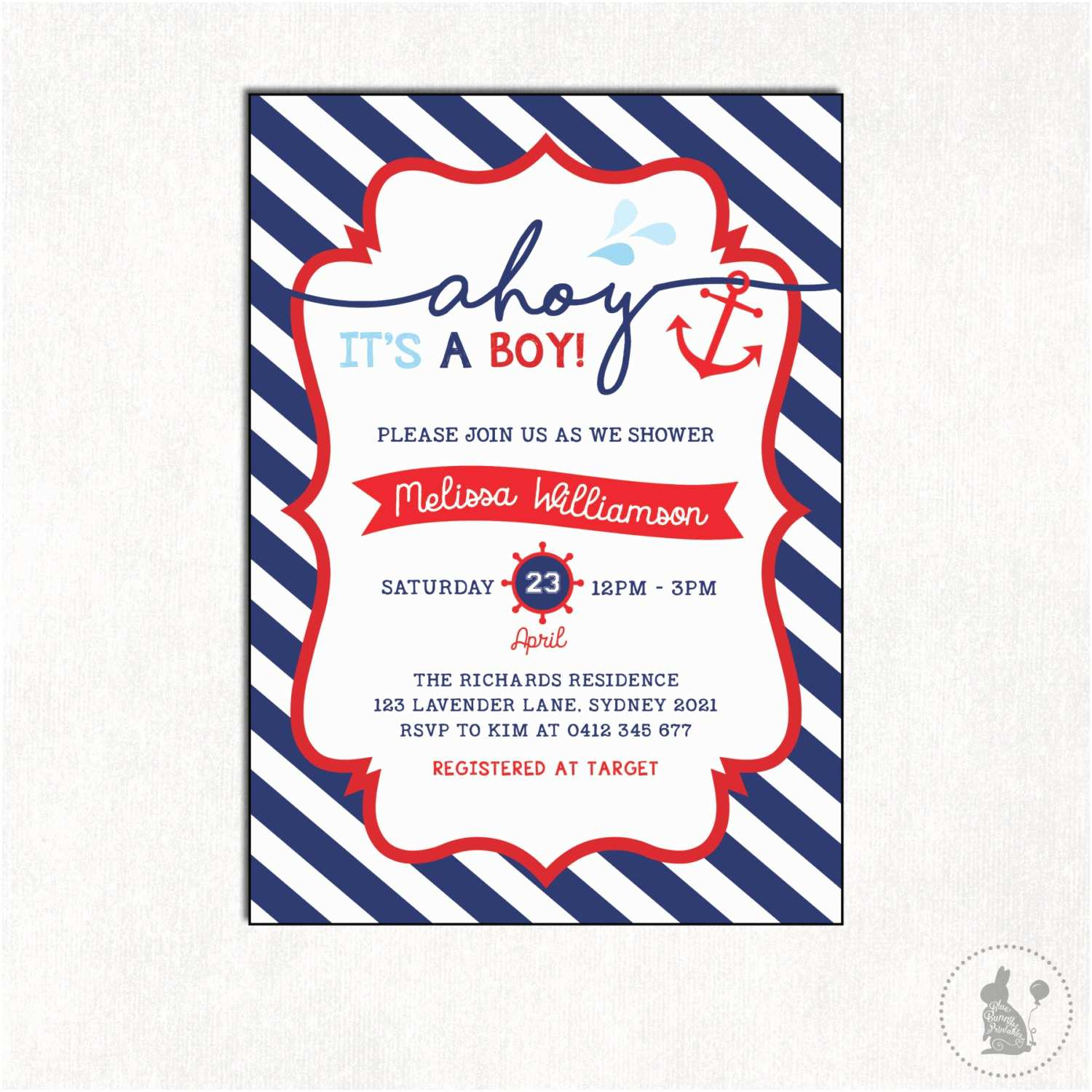 Sailor Baby Shower Invitations Nautical Baby Shower Invitation Boy Baby Shower Digital