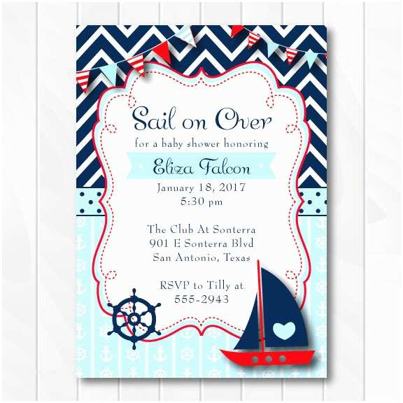 Sailor Baby Shower Invitations Nautical Baby Shower Invitation for Boys Ahoy It S A Boy