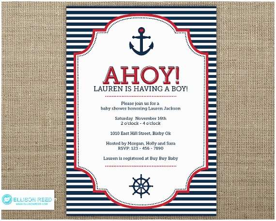 Sailor Baby Shower Invitations Nautical Baby Shower Invitation Nautical Invitation