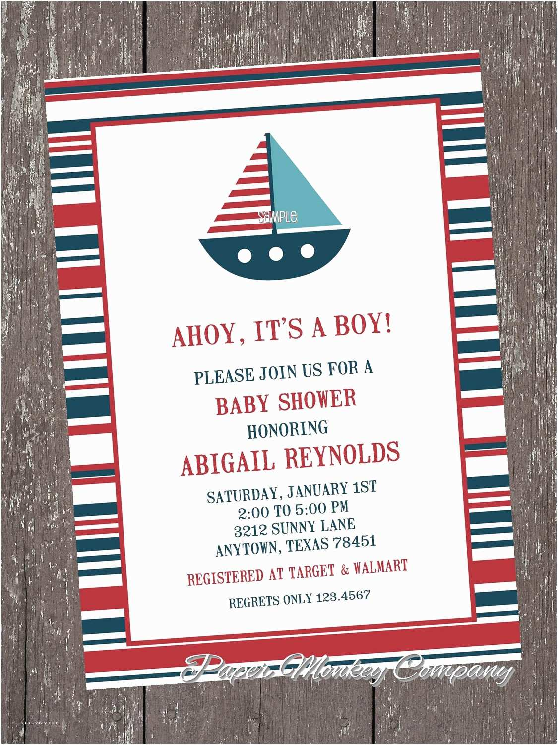 Sailor Baby Shower Invitations Nautical Sailboat Baby Shower Invitations