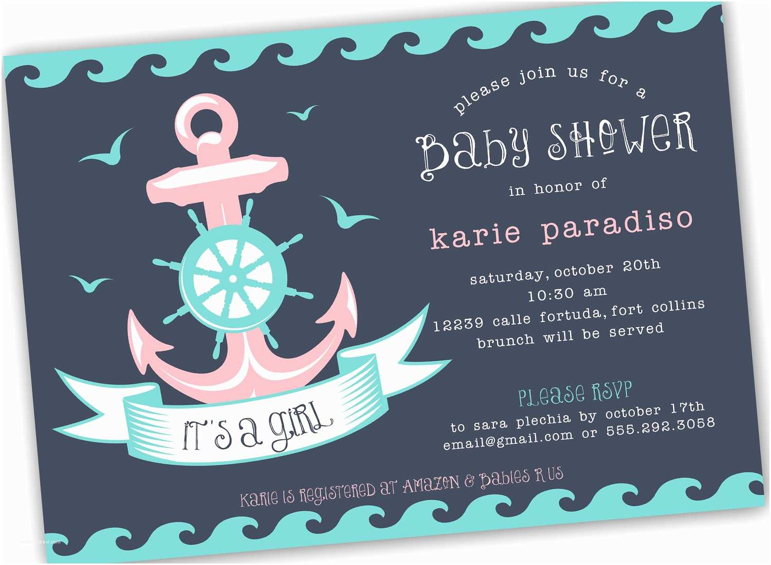 Sailor Baby Shower Invitations Nautical themed Girl Boy or Neutral Baby Shower Invite 4x6