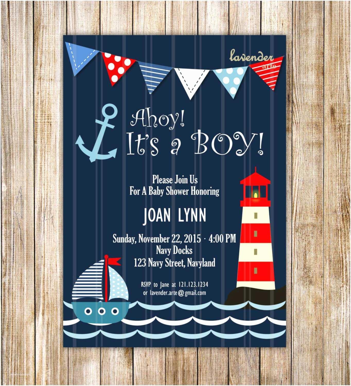Sailor Baby Shower Invitations Navy Nautical Baby Shower Invitation Ahoy It S A Boy