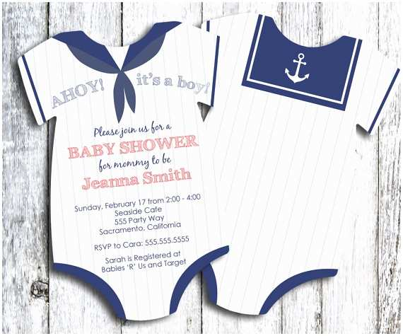 Sailor Baby Shower Invitations Sailor Baby Shower Invitation Nautical themed Shower
