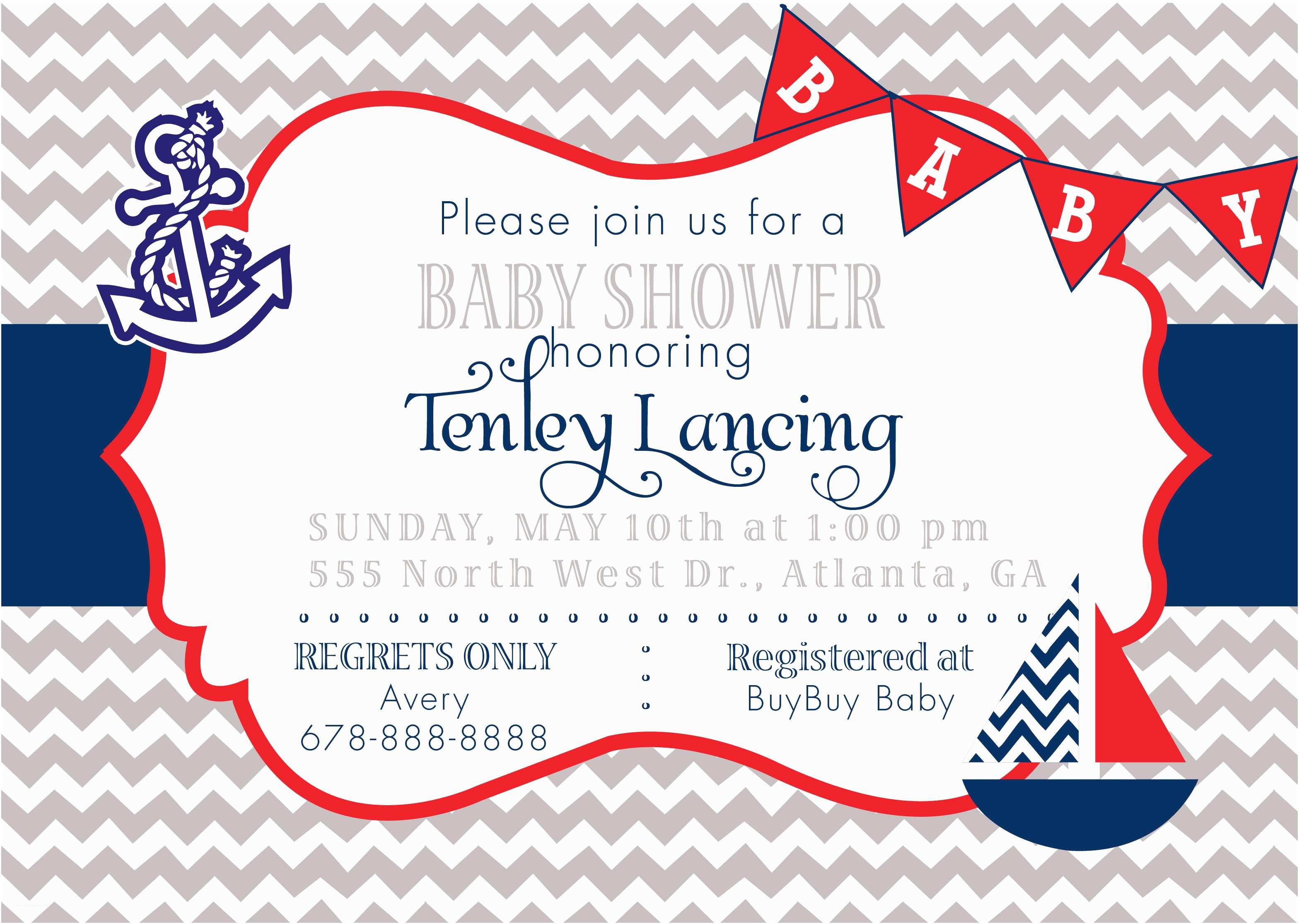 sailor baby shower invitations