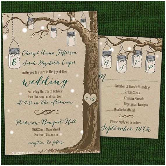 Same Sex Marriage Wedding Invitations Rustic Hanging Mason Jar Same Wedding Invitations