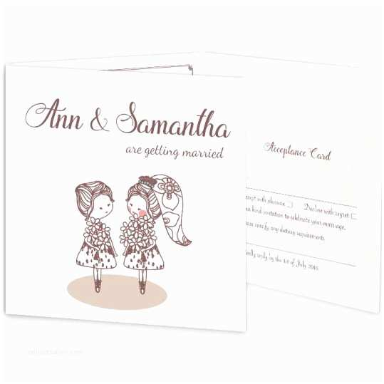 Same Sex Wedding Invitations Mrs & Mrs Tri Fold Wedding Invite & Rsvp Loving Invitations