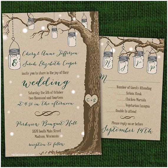 Same Sex Wedding Invitations Rustic Hanging Mason Jar Same Wedding Invitations