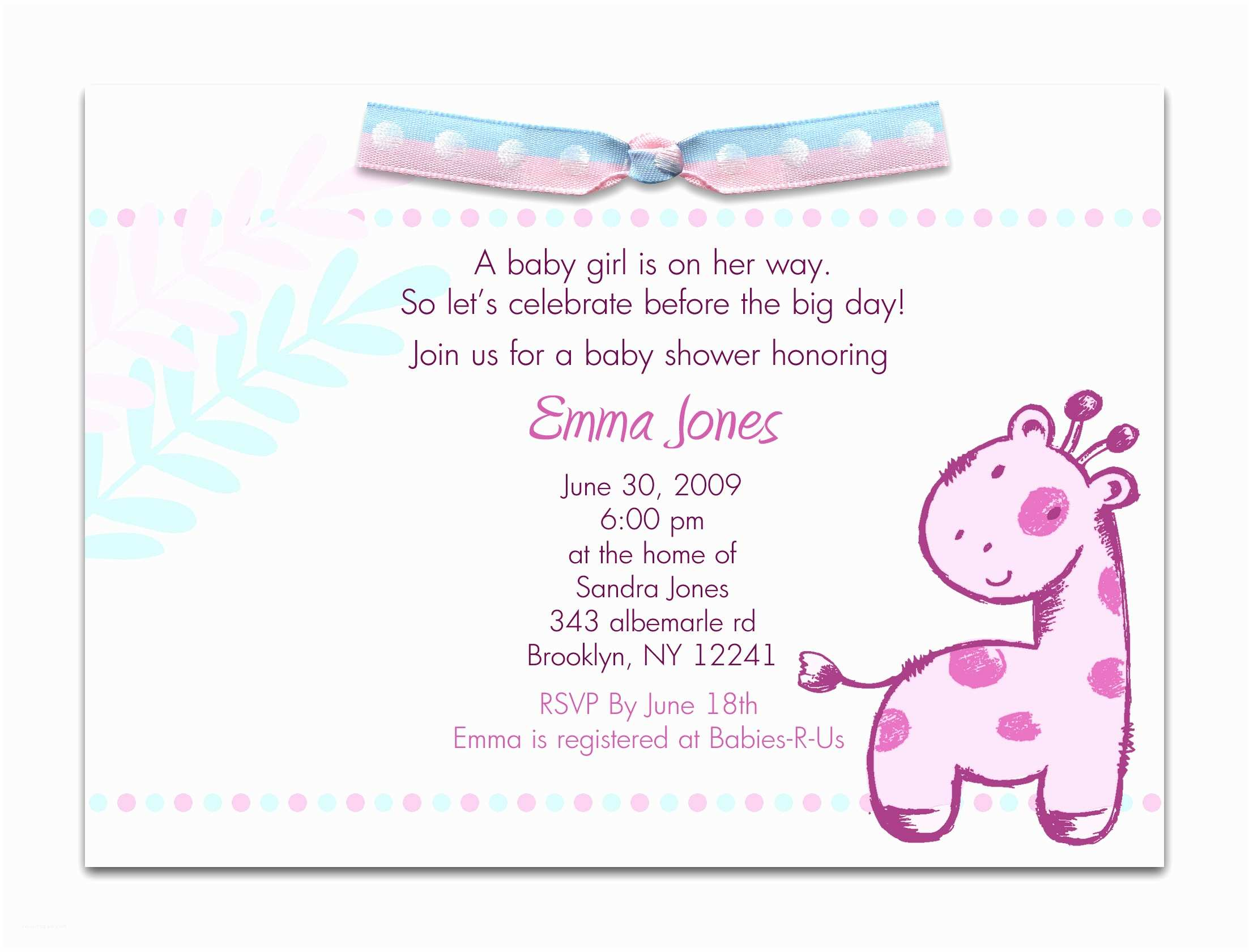 Sample Baby Shower Invitations Baby Shower Invitation Wording for A Girl