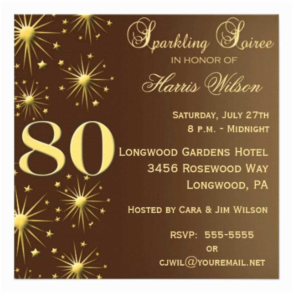 Sample Birthday Invitation 15 Sample 80th Birthday Invitations Templates Ideas