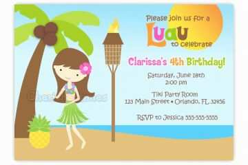 Sample Birthday Invitation Invitations For Luau Party