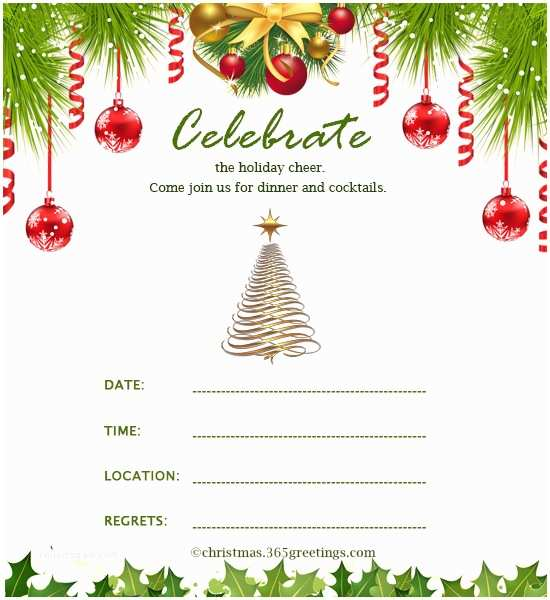 Sample Christmas Party Invitation Christmas Invitation Template and Wording Ideas