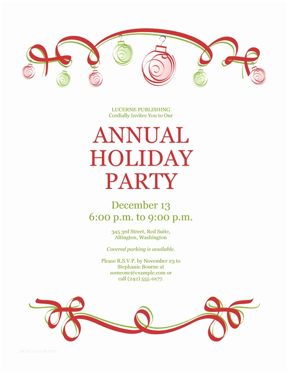Sample Christmas Party Invitation Holiday Invitation Templates Free Download