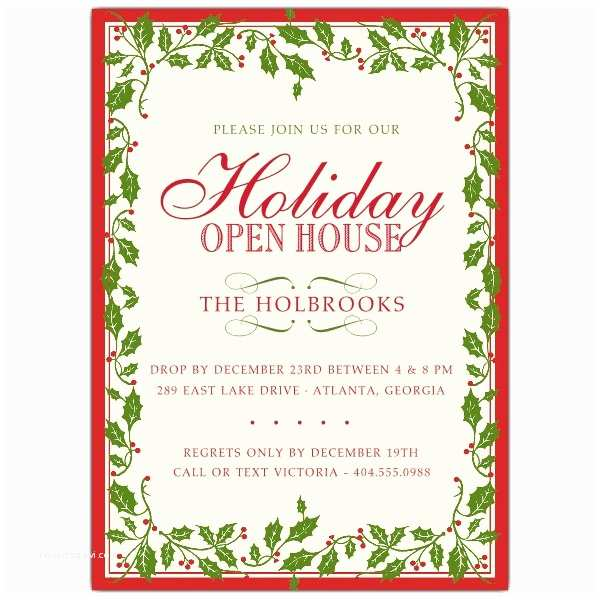 Sample Christmas Party Invitation Holly Ribbon Red Border Christmas Invitations