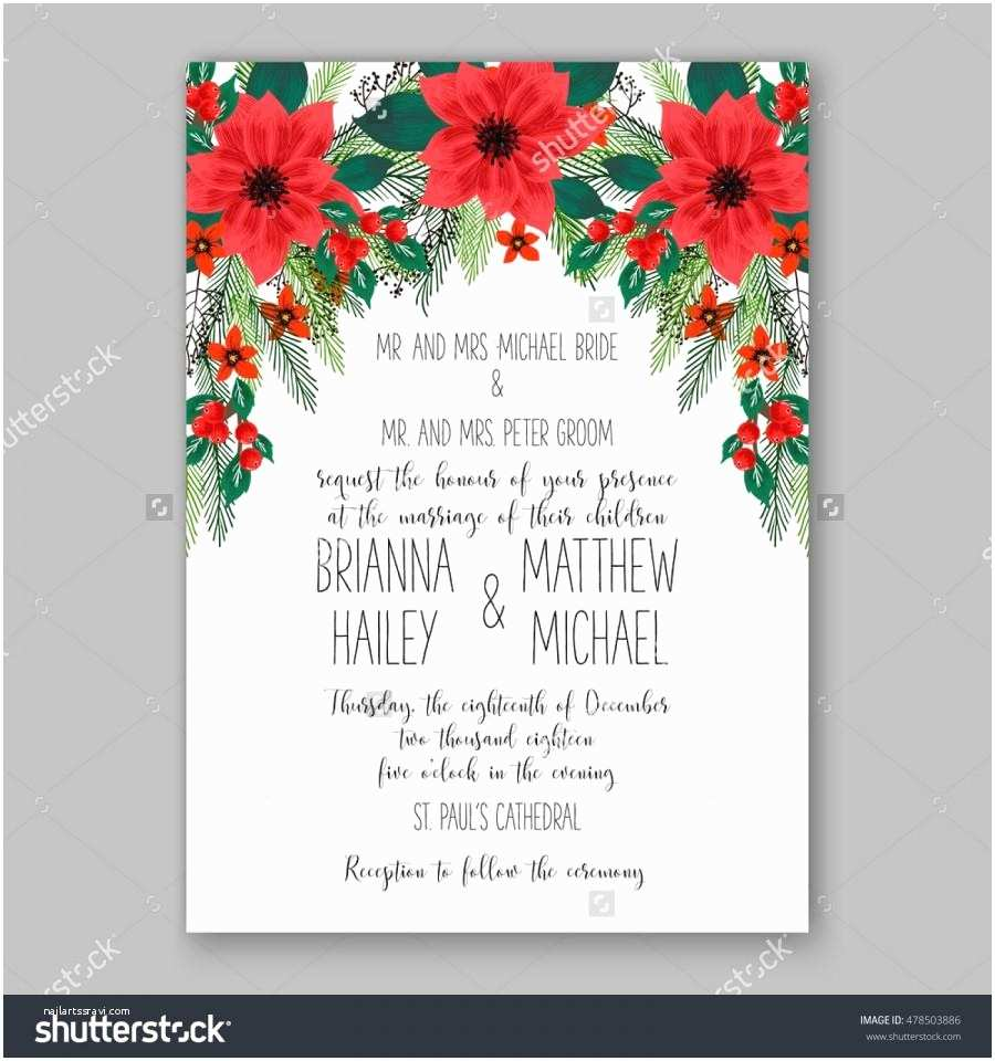 Sample Christmas Party Invitation Poinsettia Wedding Invitation Sample Card Beautiful Winter
