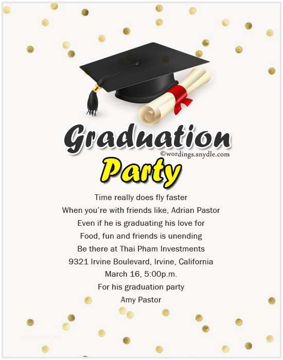 Sample Graduation Party Invitation Graduation Party Invitation Wording Wordings and Messages
