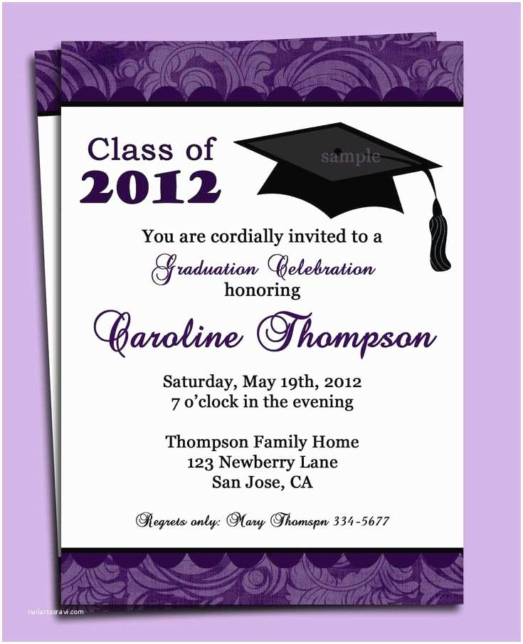 Sample Graduation Party Invitation Graduation Party or Announcement Invitation Printable or