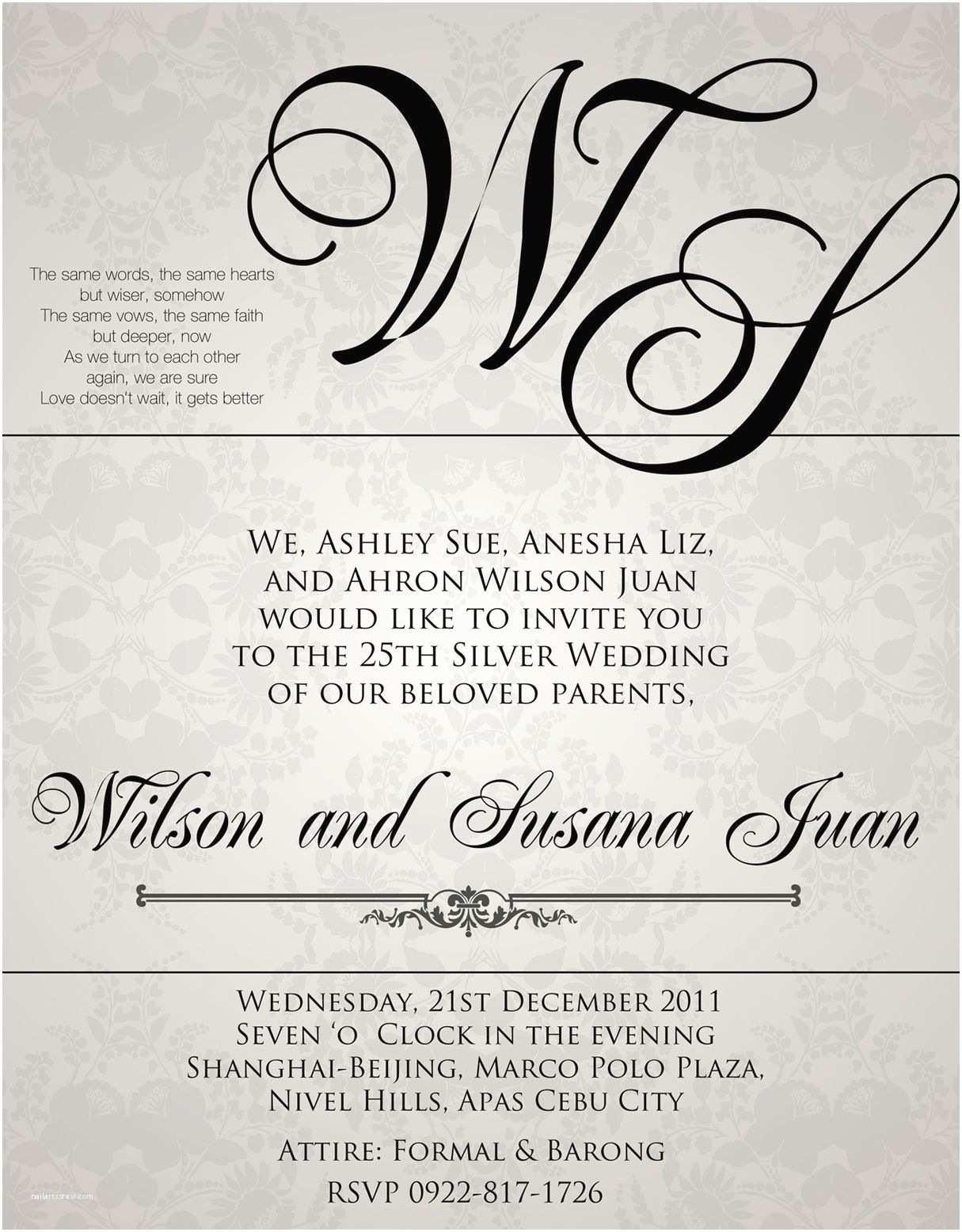 Sample Wedding Invitations Sample Wedding Invitation Wording In the Philippines