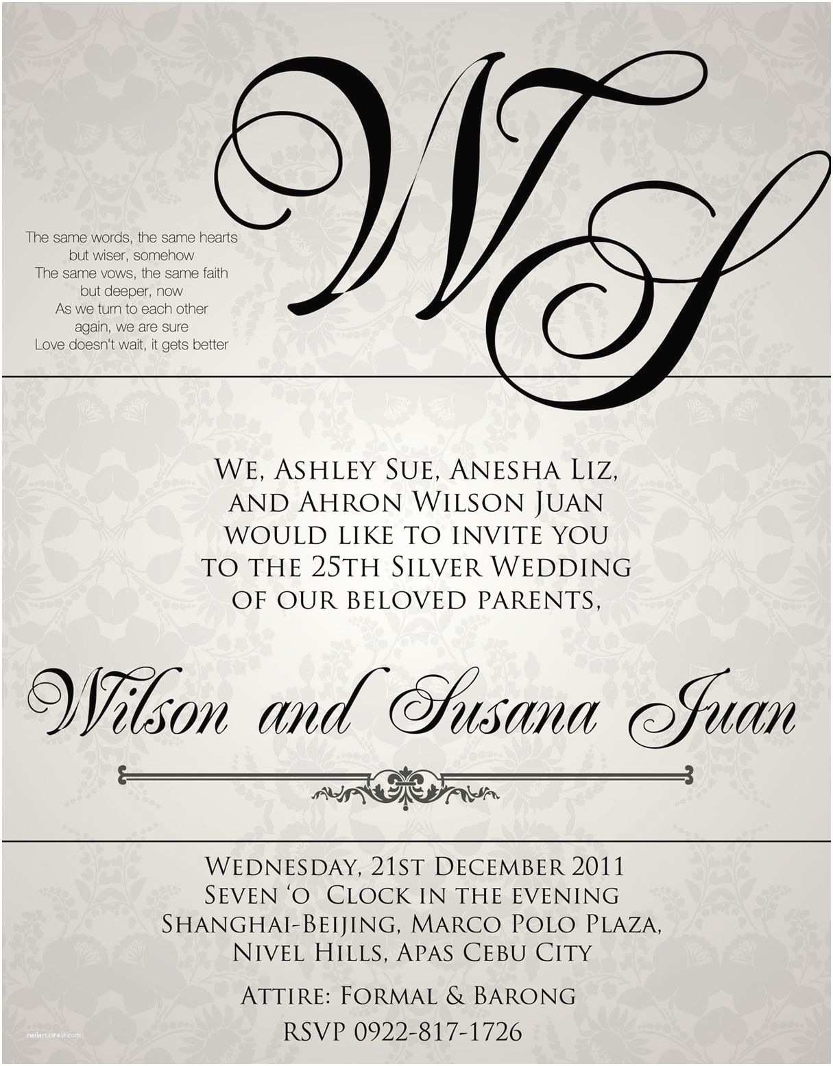 Samples Of Wedding Invitations Sample Wedding Invitation Wording In the Philippines