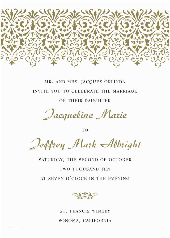 Samples Of Wedding Invitations Sample Invitation Wording