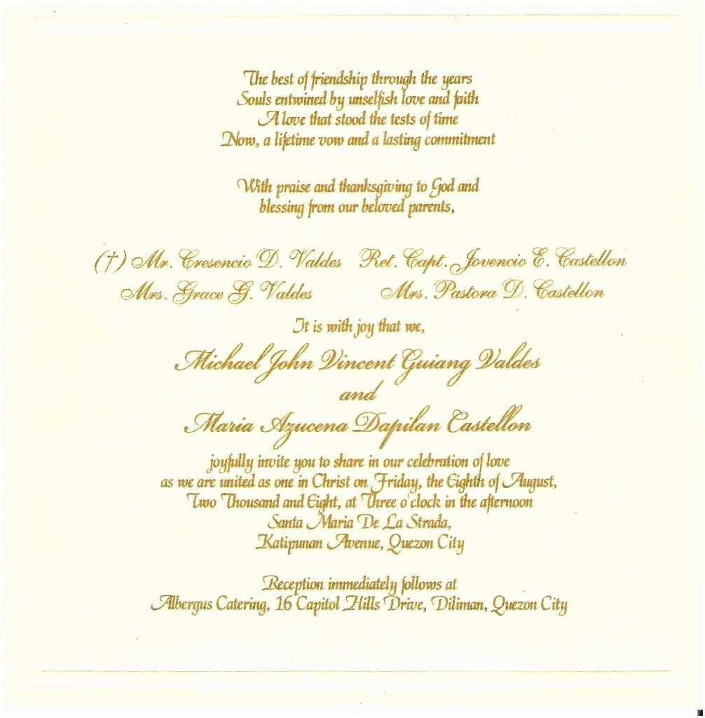 Samples Of Wedding Invitations Sample Wording for Wedding Invitations Template
