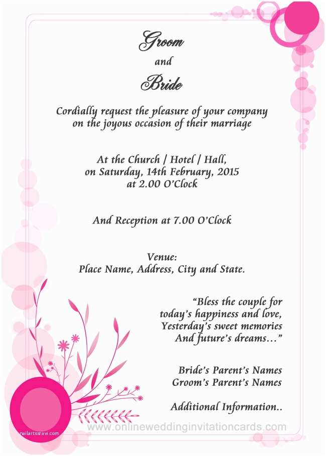 Samples Of Wedding Invitations Simple Wedding Invitation Wording Template