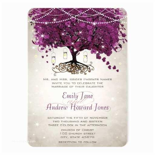 Sangria Color Wedding Invitations Mason Jar Sangria Heart Leaf Firefly Tree Wedding Custom