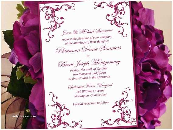 Sangria Color Wedding Invitations Printable Wedding Invitation Template Sangria Wine