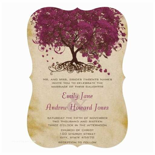 """Sangria Color Wedding Invitations Sangria Heart Leaf Tree Wedding Invites 5"""" X 7"""" Invitation"""