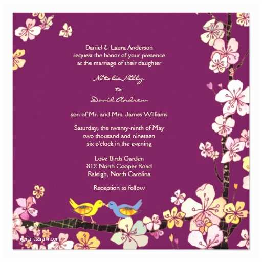 sangria love birds romantic floral formal wedding invitation