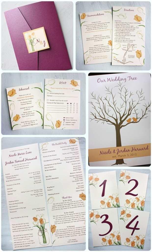Sangria Color Wedding Invitations Sangria Purple & Peach Tulips In A Mason Jar Pocketfold