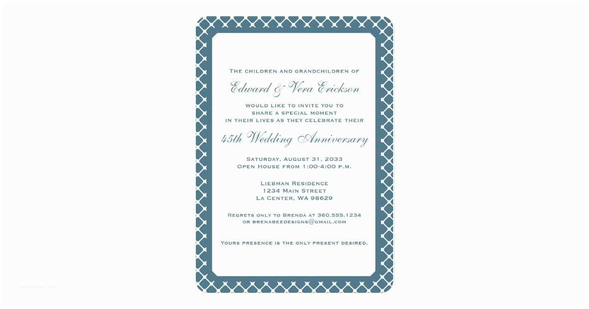 Sapphire Wedding Invitations 45th Sapphire Wedding Anniversary Invitation