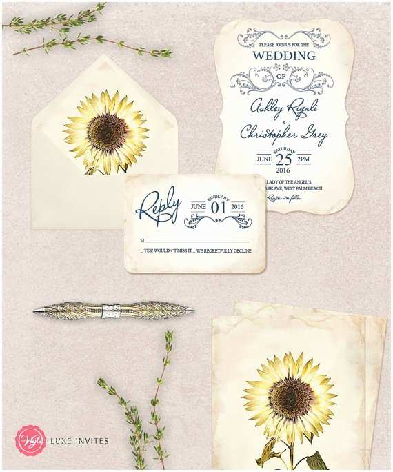 Sapphire Wedding Invitations Botanical Sunflower and Sapphire Blue Wedding Invitation