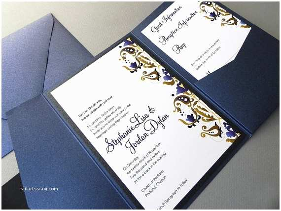 sapphire blue damask wedding invitation