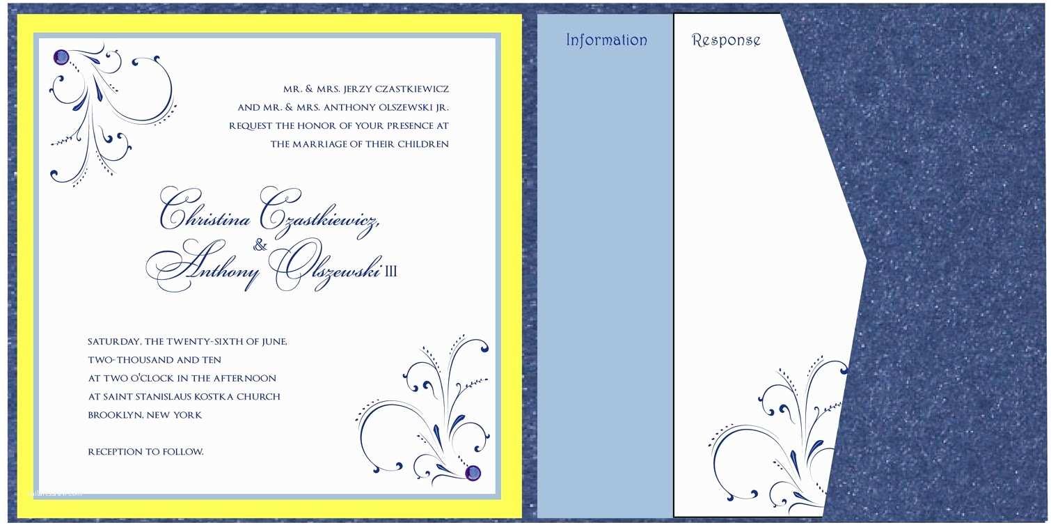 Sapphire Wedding Invitations Sapphire Blue and Yellow Wedding Invitations