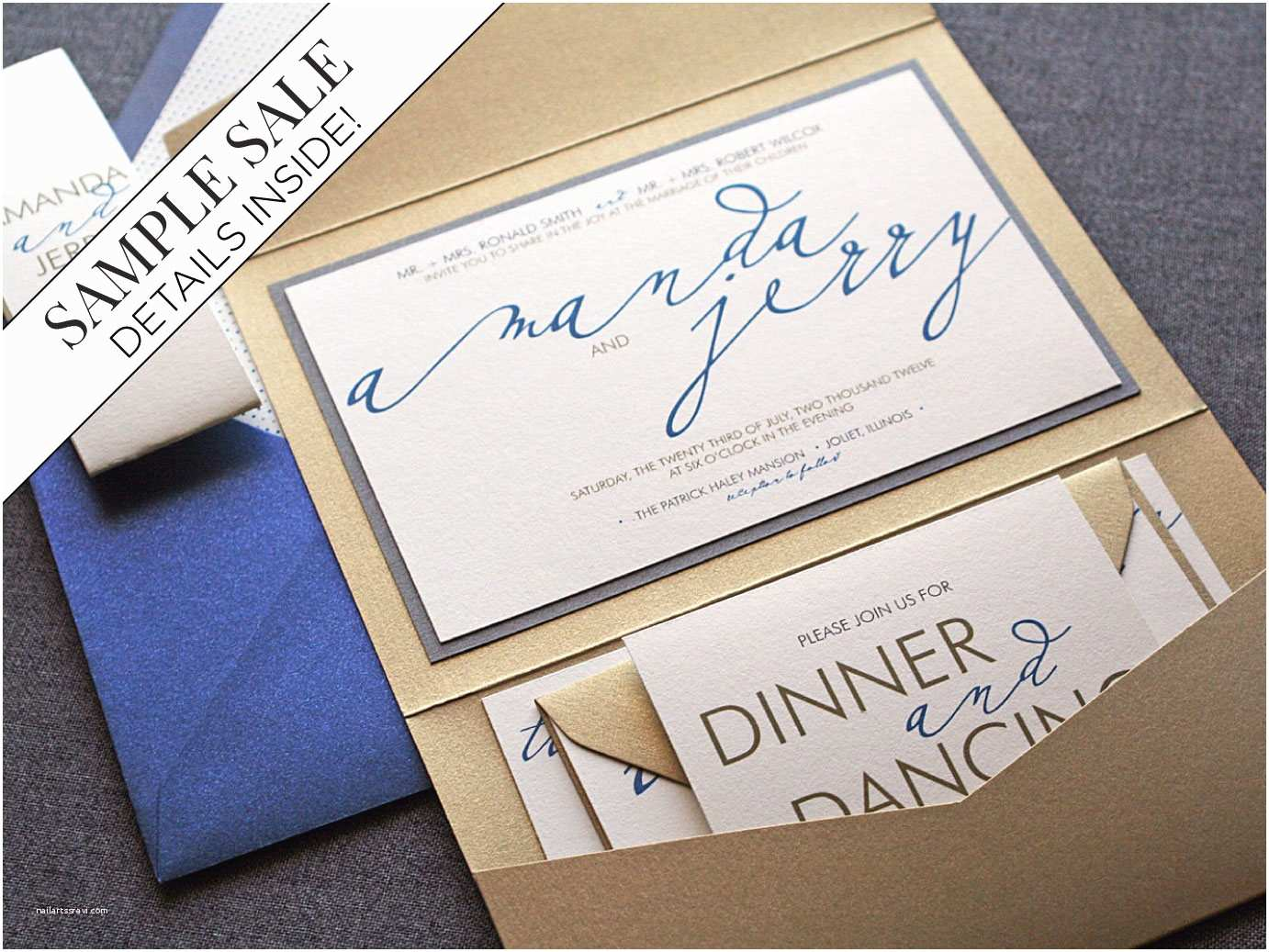 Sapphire Wedding Invitations Sapphire Blue Wedding Invitations Pocket Fold Invites