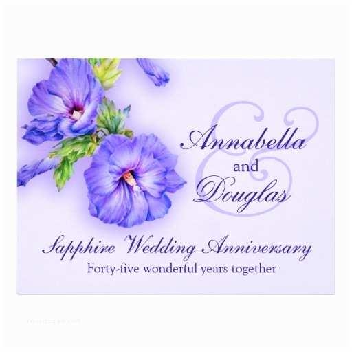 "Sapphire Wedding Invitations Sapphire Wedding Anniversary 45 Years Invitation 6 5"" X 8"
