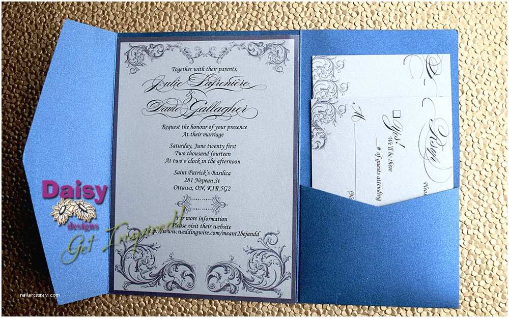 Sapphire Wedding Invitations Silver and Sapphire Wedding Invitations by Daisy Designs