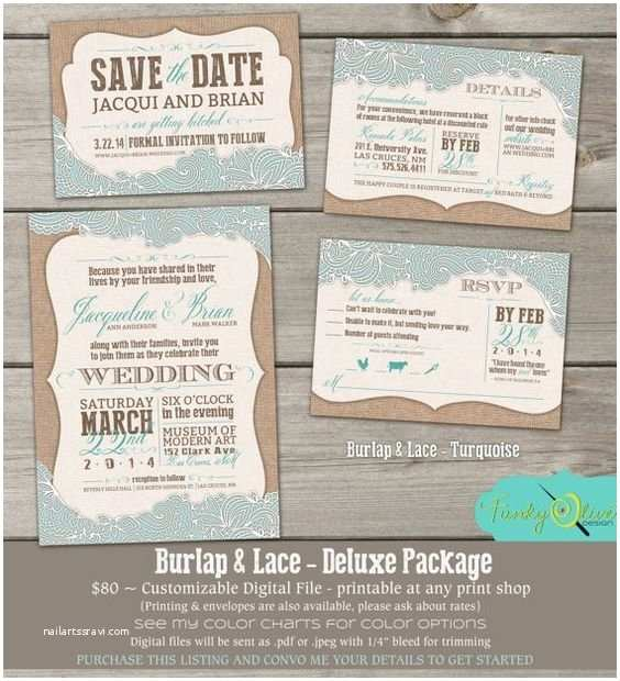 Save the Date and Wedding Invitation Packages Burlap Lace Invitation Shabby Chic Save the Date Rsvp