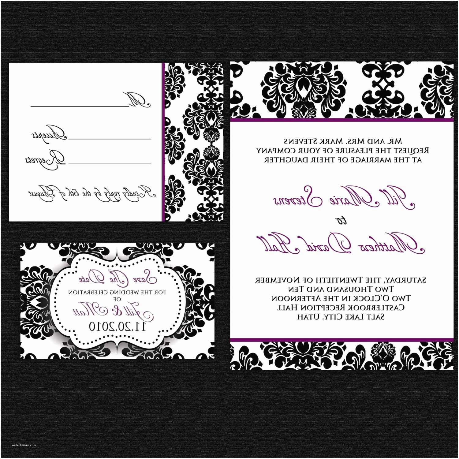 Save the Date and Wedding Invitation Packages Pin Damask Wedding Invitation Save the Date Rsvp Card Set