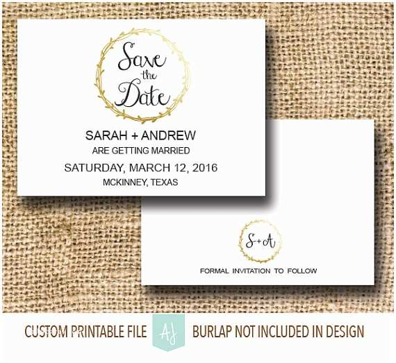 Save the Date and Wedding Invitation Packages Printable Wedding Save the Date with Metallic Gold