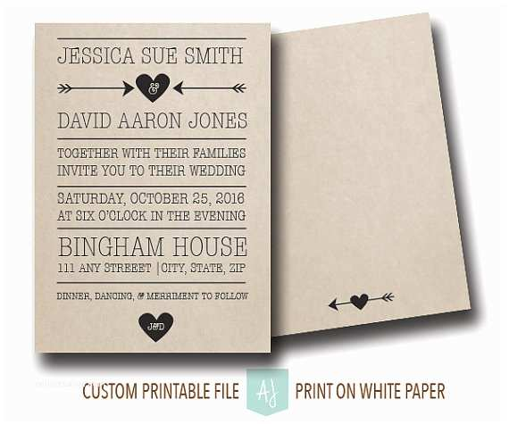 Save the Date and Wedding Invitation Packages Rustic Wedding Invitation or Save the Date Printable