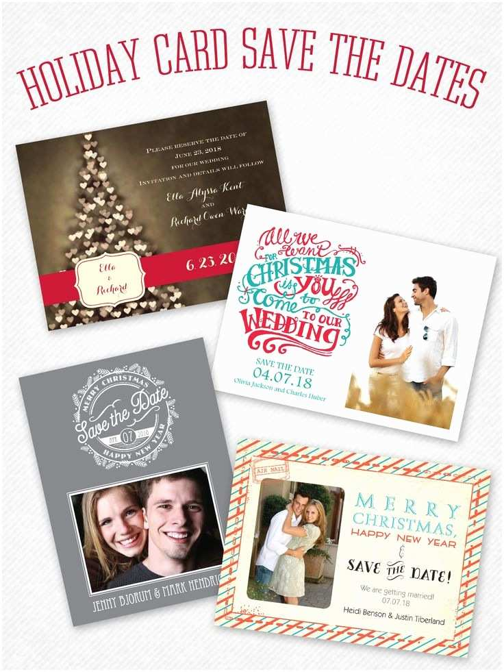 Save the Date and Wedding Invitation Packages Save the Date Holiday Card In One Cute Little Package