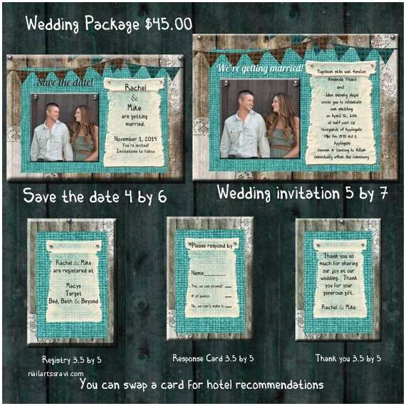 Save the Date and Wedding Invitation Packages Teal Burlap Wedding Invitation Package Save the Date