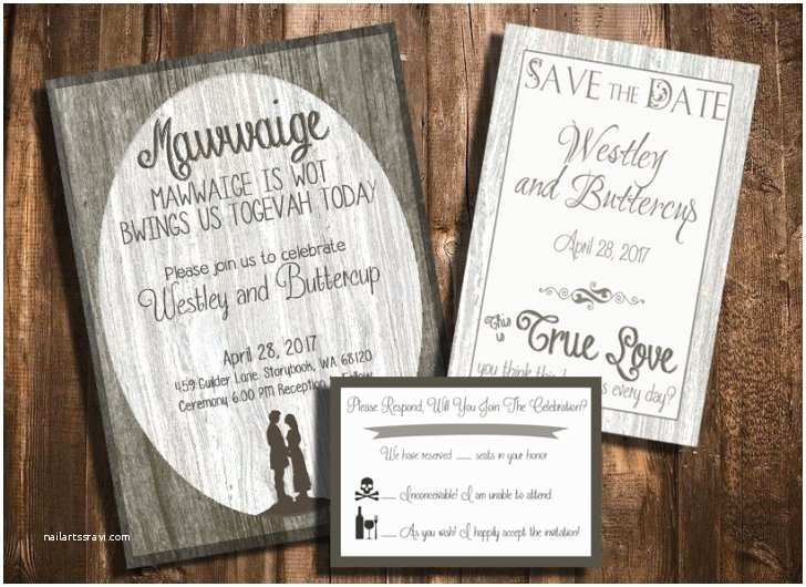 Save the Date and Wedding Invitation Packages the Princess Bride Printable Wedding Invitation Save the