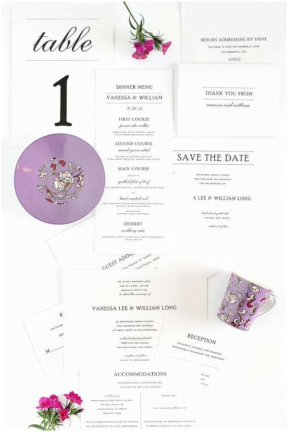 Save the Date and Wedding Invitation Packages Wedding Invitation Package Simple Elegance by Shineinvitations