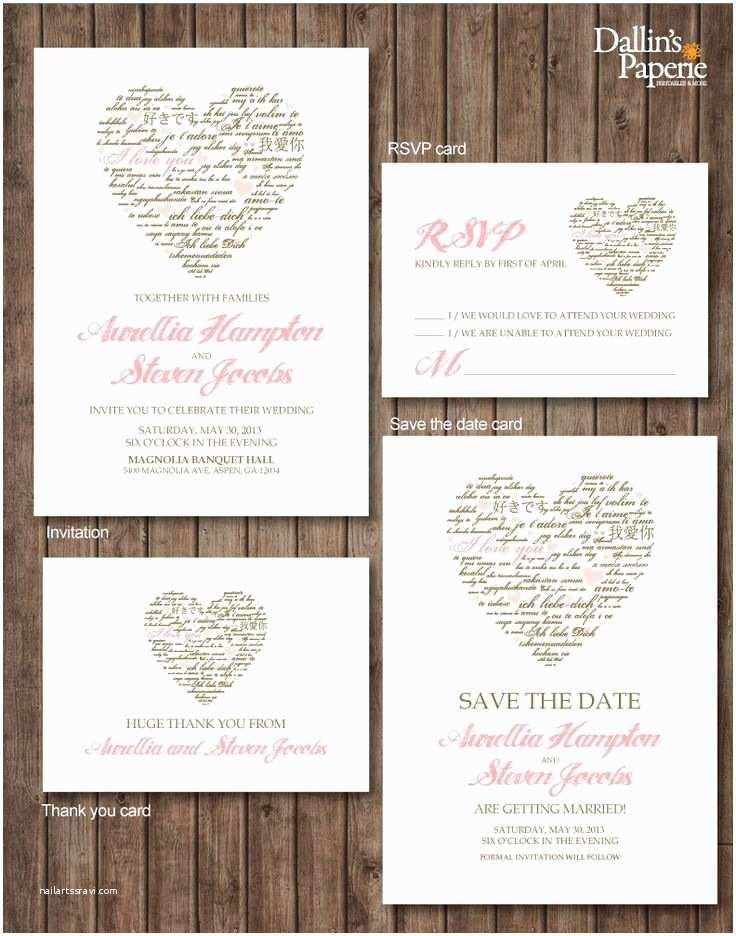 Save the Date Vs Wedding Invitations Invitations Pink Brown Heart Wedding Invitation